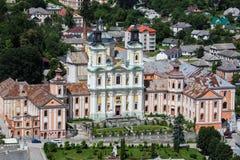Aeralansicht zum Jesuit-Kloster und zum Priesterseminar, Kremenets, Ukraine Lizenzfreie Stockbilder