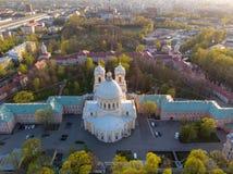 Aeralansicht zur Heiligen Dreifaltigkeit Alexander Nevsky Lavra Ein Architekturkomplex mit einem orthodoxen Kloster, eine neoklas stockbild