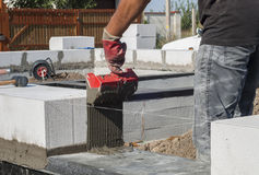 Aerated concrete masonry Stock Photography