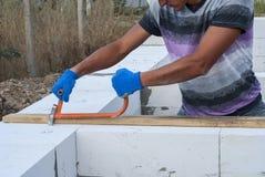 Aerated concrete masonry Stock Images