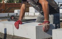 Aerated concrete masonry Stock Image
