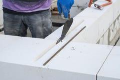 Aerated concrete masonry Royalty Free Stock Image