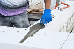 Aerated concrete masonry Stock Photos