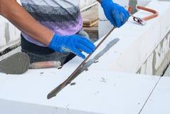 Aerated concrete masonry Royalty Free Stock Photos