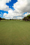 Aerated Golf Course Putting Green. Portrait view of an aerated golf course putting green royalty free stock photo