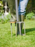Aerating lawn Royalty Free Stock Images