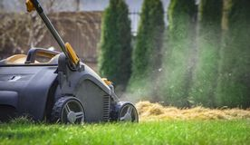 Aeration of the lawn in the garden. Yellow aerator on green grass. Close up stock image