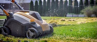 Aeration of the lawn in the garden. Yellow aerator on green grass. Close up stock photo