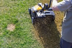 Aeration of the lawn in the garden. Yellow aerator on green grass. Close up royalty free stock photography