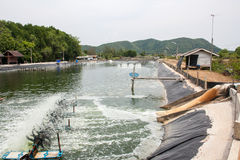 Aeration turbines in the shrimp farm Stock Photo
