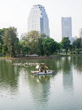 Aerator in city park. An aerator for water treatment in a lake of city public park Stock Photo