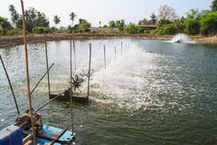 Aerator in the shrimp farm Stock Photo