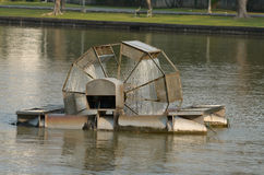 Aerators. Water wheel floating on the canal of park Royalty Free Stock Images