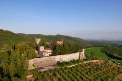 Aereal-Ansicht castello Brolio Stockbilder