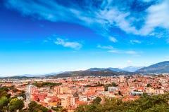 Aereal-Ansicht vom Schloss von Brescia-Stadt Lizenzfreie Stockfotos