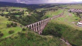 Aereal View Acueduct `arcos Del Sitio` Tepotzotlan, Estado De Mexico. Take 4 stock video footage