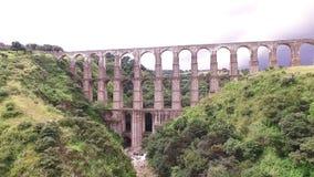 Aereal View Acueduct `arcos Del Sitio` Tepotzotlan, Estado De Mexico. Take 2 stock video footage