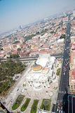 Aereal view of Mexico city and the Palacio of Bellas artes Royalty Free Stock Photography