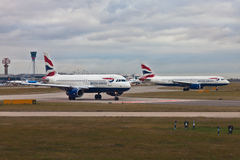 Aerei British Airways all'aeroporto di Heathrow, Londra Fotografie Stock