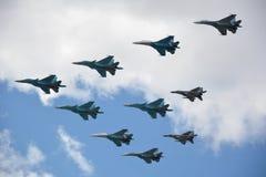 Aerei da caccia militari nell'aria immagine stock libera da diritti