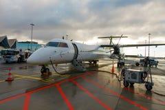 Aerei dell'aria Baltico della compagnia aerea di basso costo Immagini Stock