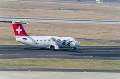 Aerei della linea aerea Swissair fotografia stock libera da diritti