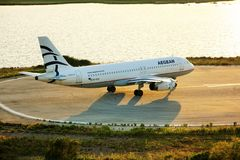Aerei di Aegean Airlines Fotografia Stock Libera da Diritti