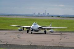 Aerei di aereo da caccia in anticipo del posto unico gemellato e del vampiro di DeHavilland Immagini Stock Libere da Diritti