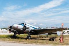 Aerei di Beechcraft C-45 durante lo show aereo Fotografia Stock Libera da Diritti
