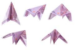 Aerei di carta da 500 euro banconote Fotografia Stock Libera da Diritti