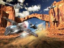 Aerei di combattimento e combattimento del UFO Immagine Stock