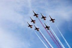 Aerei di combattimento nel airshow fotografia stock libera da diritti