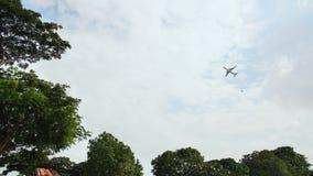 Aerei di decollo sui precedenti degli alberi nel villaggio indonesiano video d archivio