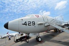 Aerei di pattuglia marittima di Boeing P-8 Poseidon della marina statunitense su esposizione a Singapore Airshow Fotografia Stock Libera da Diritti