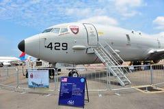 Aerei di pattuglia marittima di Boeing P-8 Poseidon della marina statunitense su esposizione a Singapore Airshow Fotografia Stock