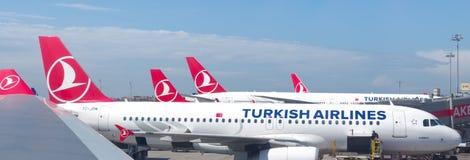 Aerei di Turkish Airlines fotografia stock libera da diritti