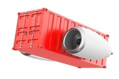 Aerei Jet Engine con il container rappresentazione 3d illustrazione di stock