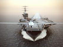 Aerei militari del fuco che lanciano dai portaerei su una missione di colpo royalty illustrazione gratis