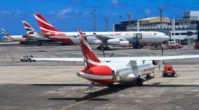 Aerei nell'aeroporto delle Mauritius Immagini Stock