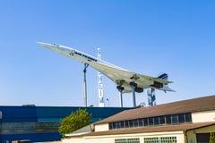 Aerei supersonici il Concorde nel museo immagine stock