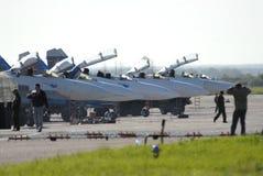 Aerei Unione Sovietica 27 all'aeroporto prima della volata Immagine Stock Libera da Diritti