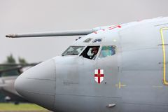 Aerei ZH101 del AWACS di sistema di allarme avanzato radar volante della sentinella di Royal Air Force RAF Boeing E-3D alla stazi Fotografia Stock Libera da Diritti