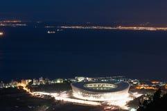 aereial绿色晚上点体育场视图 图库摄影