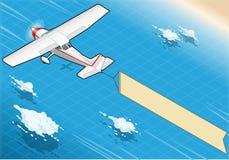Aereo bianco isometrico in volo con l'insegna aerea nella retrovisione Immagine Stock
