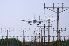 Aereo commerciale con destino Malaga. Immagine Stock Libera da Diritti