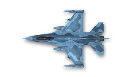 Aereo da caccia, æreo militare su fondo bianco, vista superiore Fotografia Stock