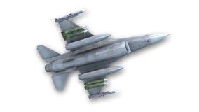 Aereo da caccia che decolla, æreo militare isolato su bianco, vista dal basso Immagine Stock