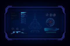 Aereo da caccia futuristico di tecnologia del GUI dell'interfaccia di Hud, liiustration di vettore illustrazione vettoriale