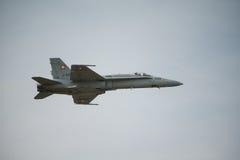 Aereo da caccia svizzero del calabrone dell'aeronautica F18 Immagine Stock