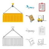 Aereo da carico, carretto per trasporto, scatole, carrello elevatore, documenti Logistico, metta le icone della raccolta nel fume illustrazione di stock